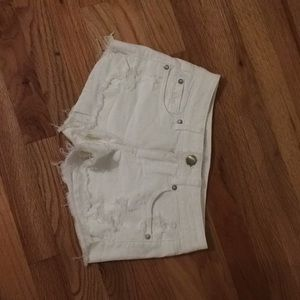 American Eagle White Ripped Shorts